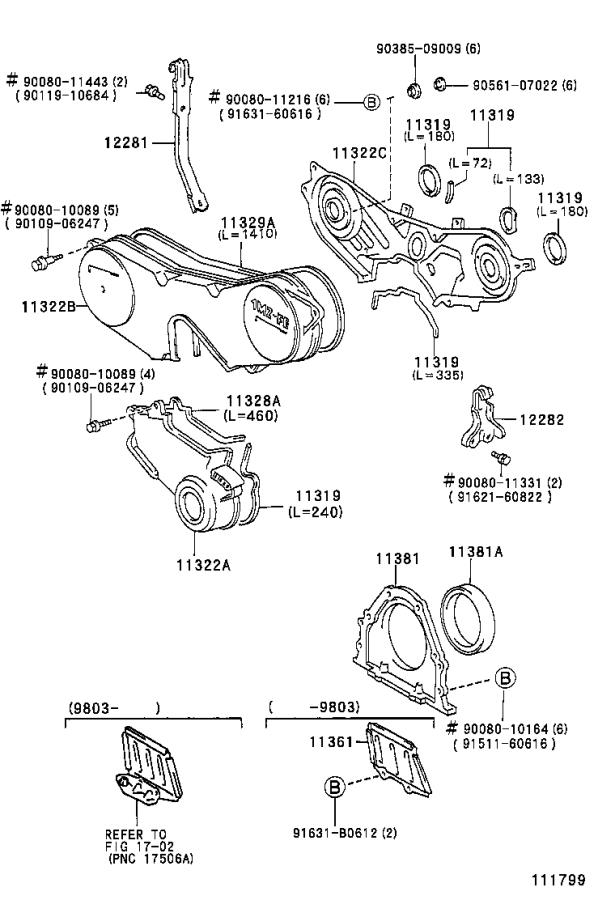 Diagram TIMING GEAR COVER & REAR END PLATE for your 1997 Toyota Camry LE (VIN: JT2BG22K) 2.2L AT