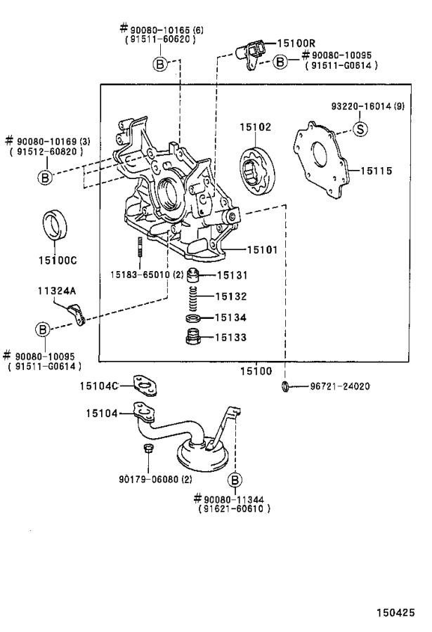 Diagram ENGINE OIL PUMP for your 1997 Toyota Camry LE (VIN: JT2BG22K) 2.2L AT