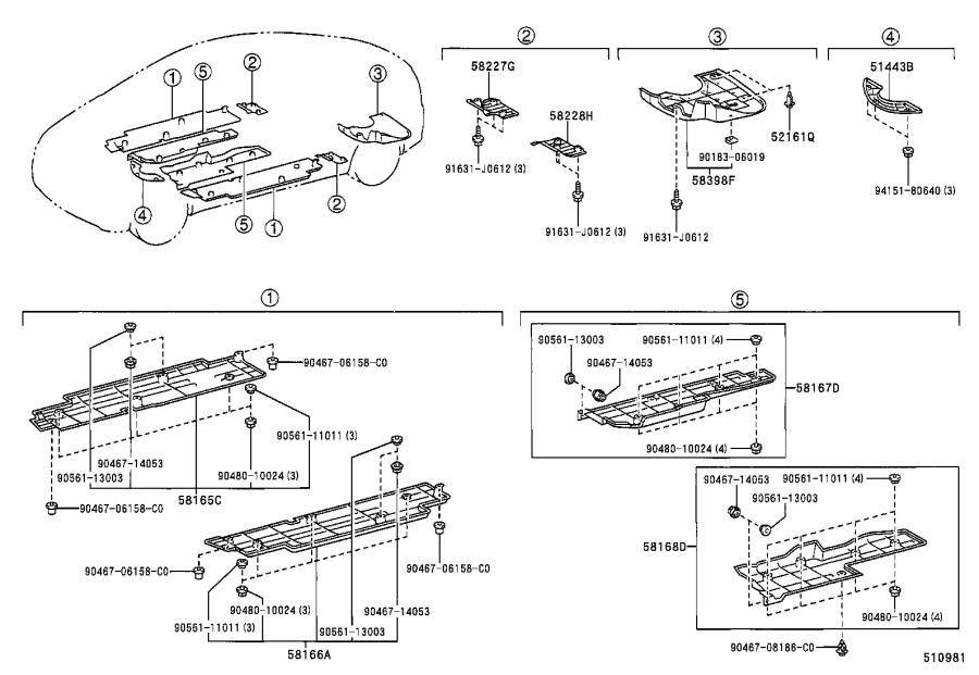 Diagram SUSPENSION CROSSMEMBER & UNDER COVER for your Toyota