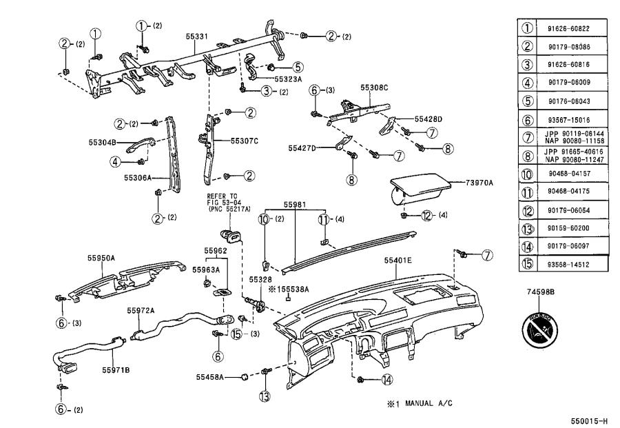 Diagram INSTRUMENT PANEL & GLOVE COMPARTMENT for your 1997 Toyota Camry LE (VIN: JT2BG22K) 2.2L AT