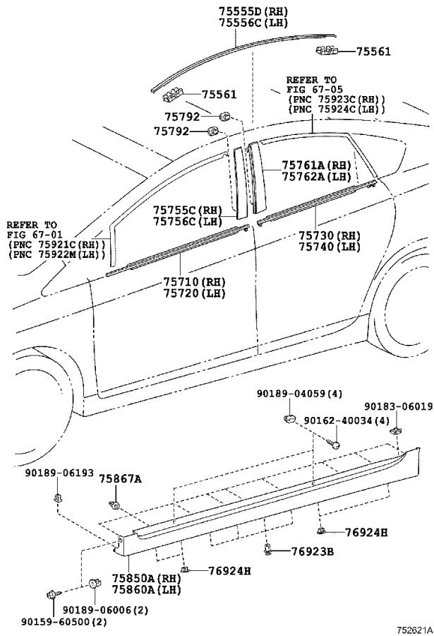 Diagram SIDE MOULDING for your Toyota
