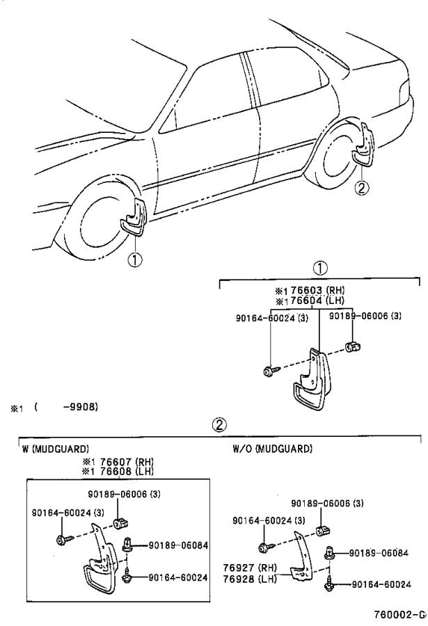 Diagram MUDGUARD & SPOILER for your 1997 Toyota Camry LE (VIN: JT2BG22K) 2.2L AT