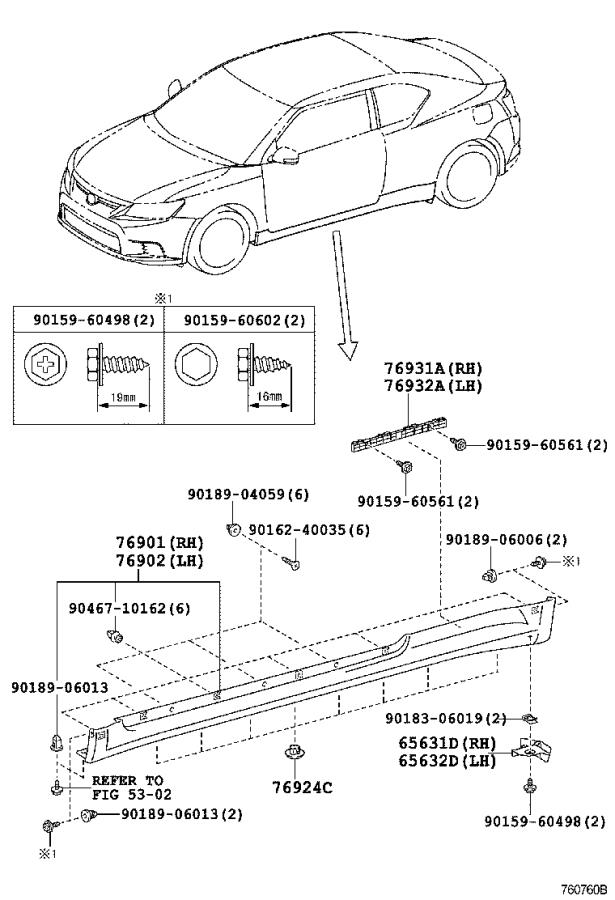 Diagram MUDGUARD & SPOILER for your Toyota