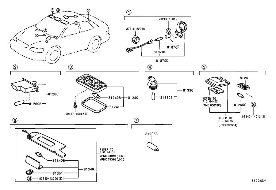 Diagram INTERIOR LAMP for your 1997 Toyota Camry LE (VIN: JT2BG22K) 2.2L AT