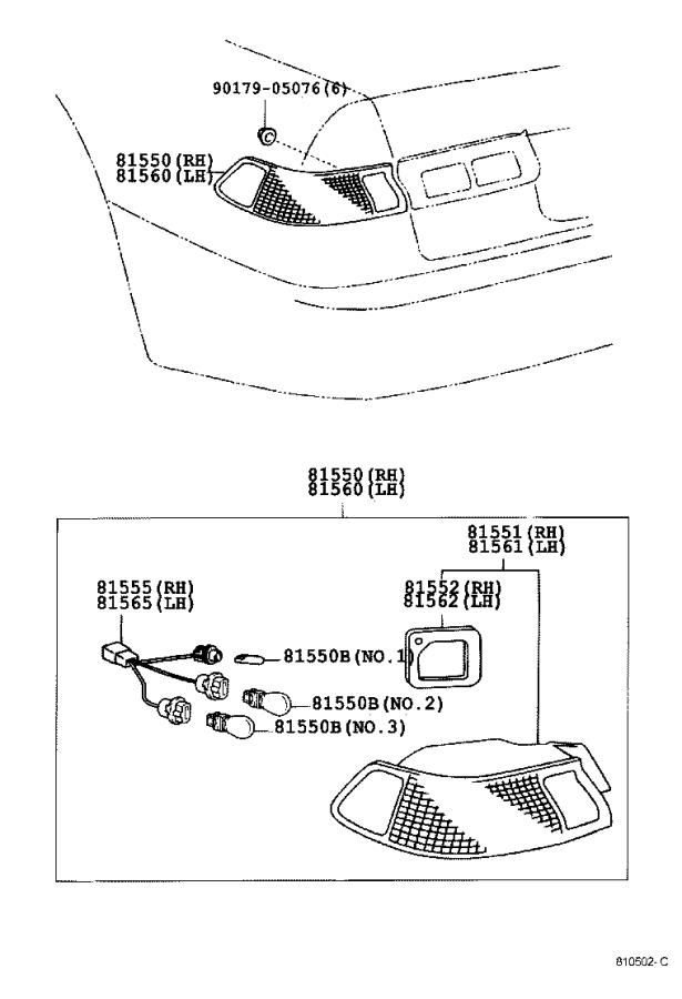 Diagram REAR COMBINATION LAMP for your 1997 Toyota Camry LE (VIN: JT2BG22K) 2.2L AT